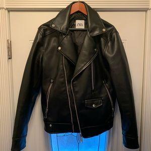 Zara Men's Vegan Leather Moto Jacket